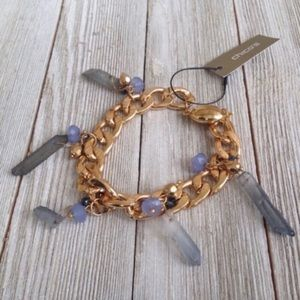 Chico's Bracelet Purple Natural Crystal NWT